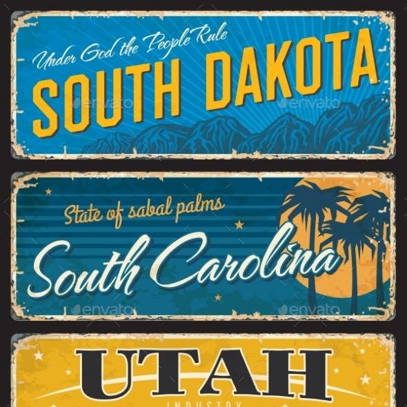 Utah South Dakota and Carolina State Shabby Plate