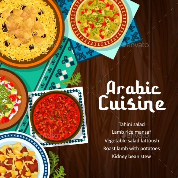 Arabic Cuisine Food Restaurant Vector Banner