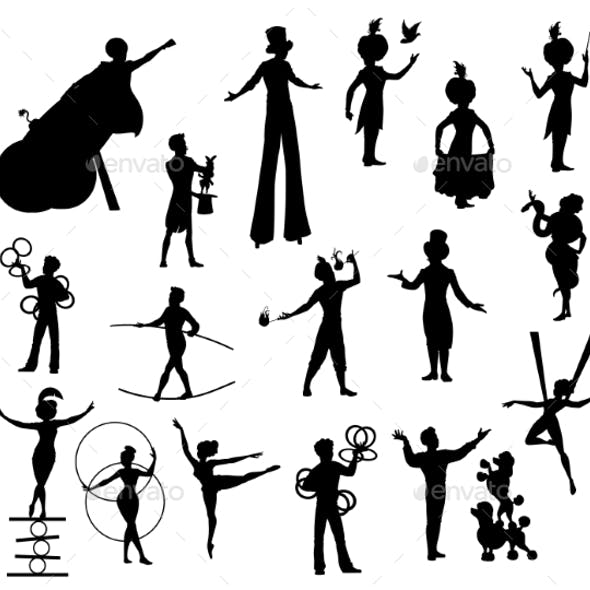 Circus Performers Black Silhouettes Vector Artists