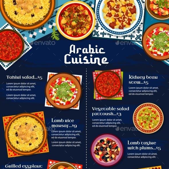 Arabic Cuisine Restaurant Menu Vector Cover