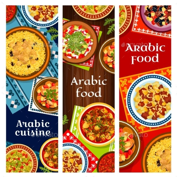 Arabic Cuisine Restaurant Dishes Vector Posters