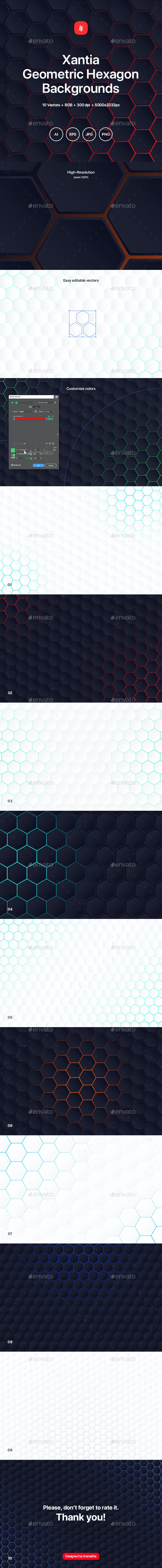 Xantia - Geometric Hexagon Backgrounds - Patterns Backgrounds