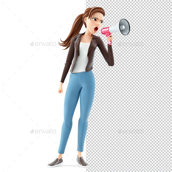 3D Cartoon Woman Shooting Through Megaphone