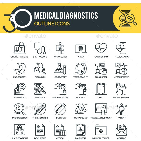 Medical Diagnostics Outline Icons