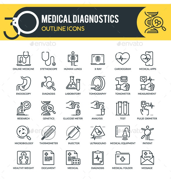 Medical Diagnostics Outline Icons - Miscellaneous Icons