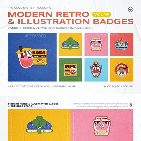 Modern Retro Illustration Logo Badges Set Vol.10