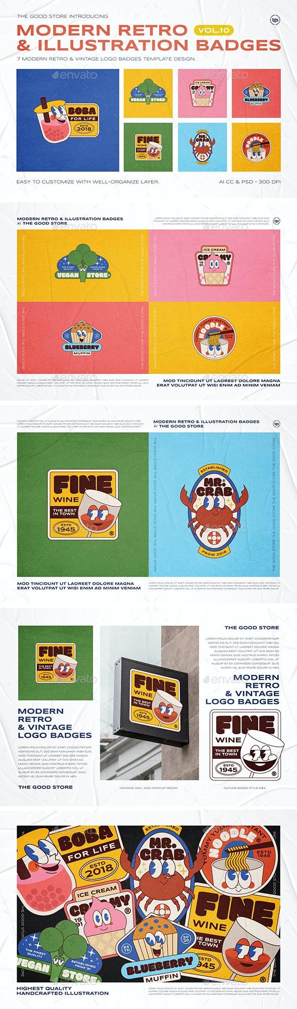 Modern Retro Illustration Logo Badges Set Vol.10 - Badges & Stickers Web Elements
