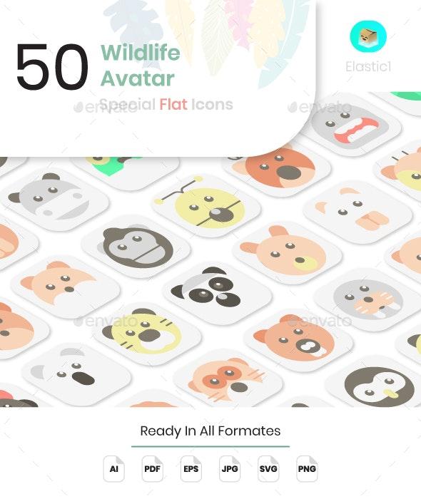 Wildlife Avatar Flat Icons - Animals Characters