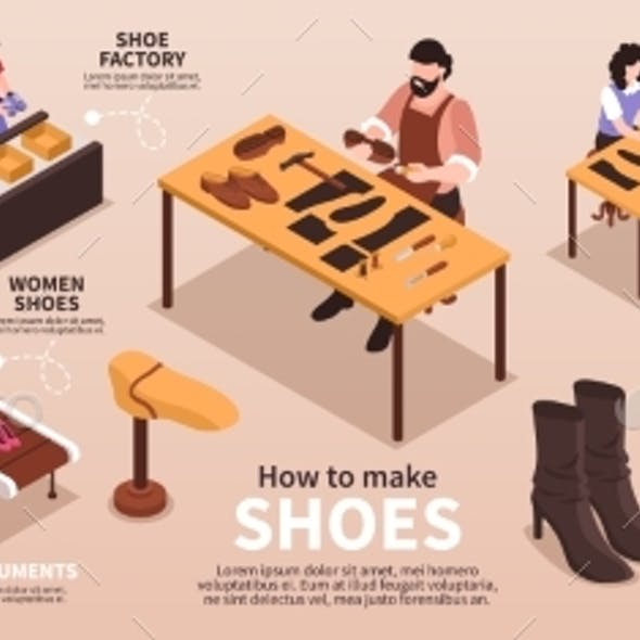 Shoes Manufacturing Isometric Infographics
