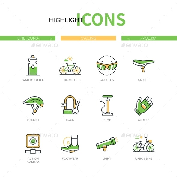 Cycling  Modern Line Design Style Icons Set - Sports/Activity Conceptual