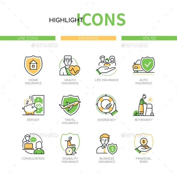 Insurance Types  Line Design Style Icons Set - Business Conceptual