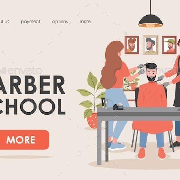 Barber School Vector Flat Landing Page Template