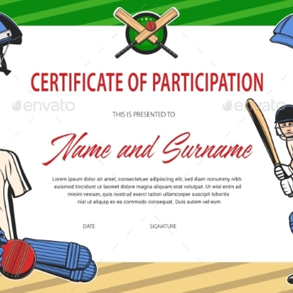 Certificate of Participation in Cricket Tournament