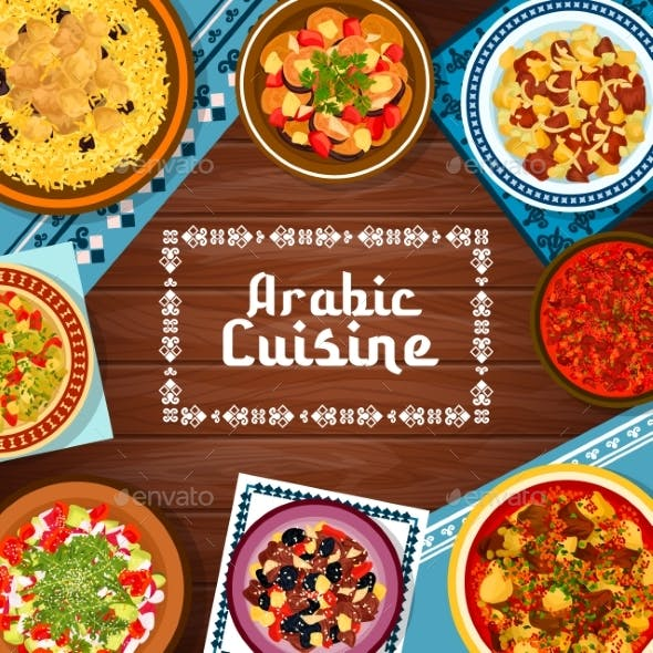 Arabic Cuisine Meat and Vegetable Meals Banner