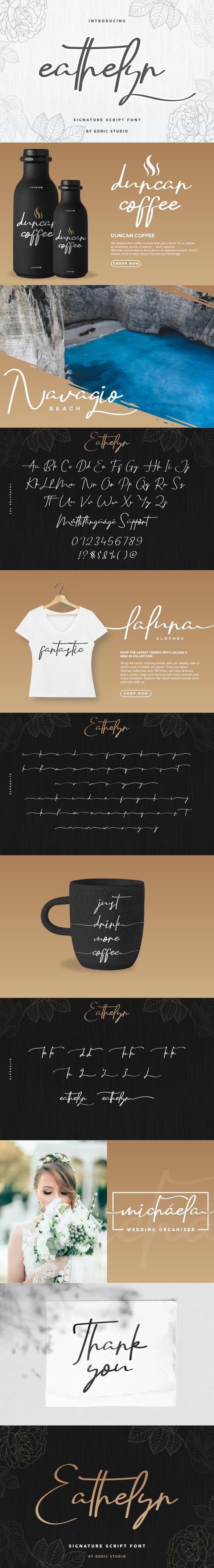 Eathelyn Signature Font - Script Fonts