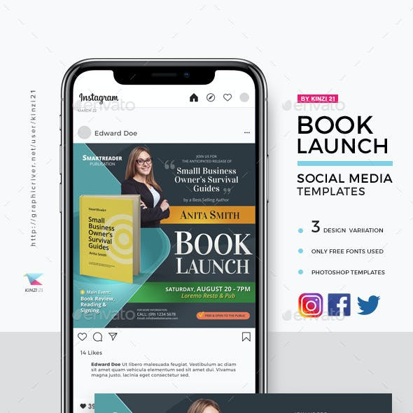 Book Launch Social Media Template Pack