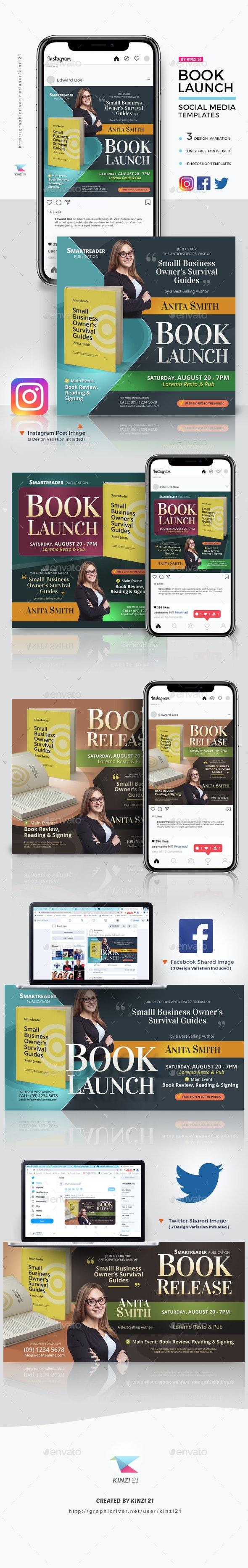 Book Launch Social Media Template Pack - Social Media Web Elements