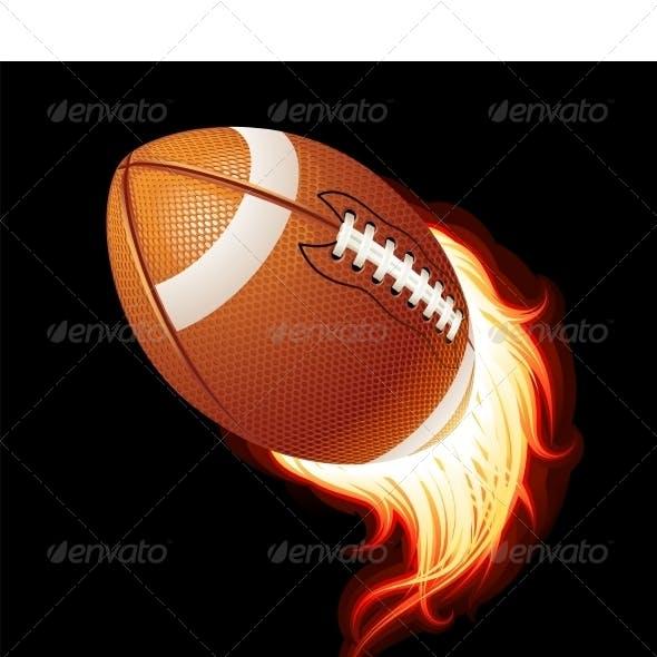 Vector flying flaming American football ball