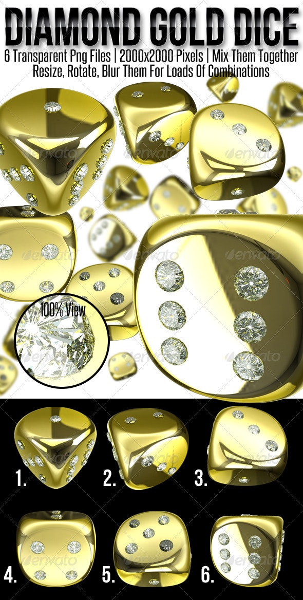 Diamond Gold Dice - Objects 3D Renders