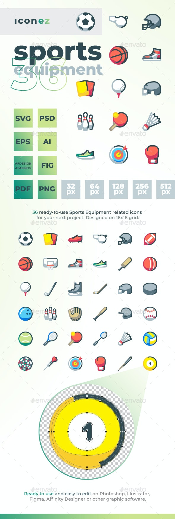 Iconez - Sports Equipment - Objects Icons