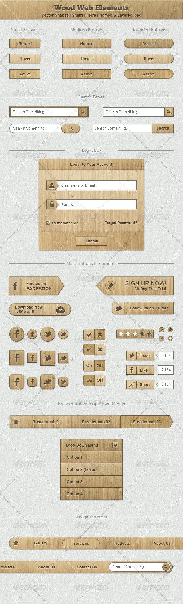 Wood Web Elements - User Interfaces Web Elements