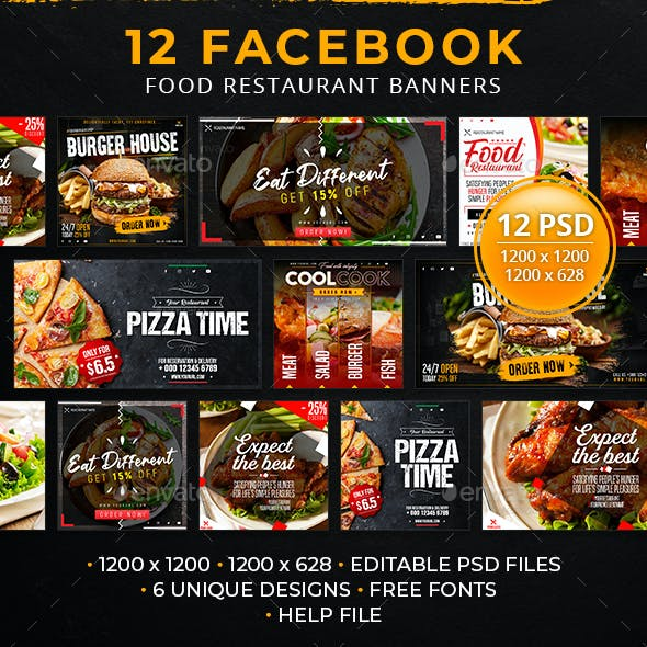 12 Facebook Food Restaurant Banners