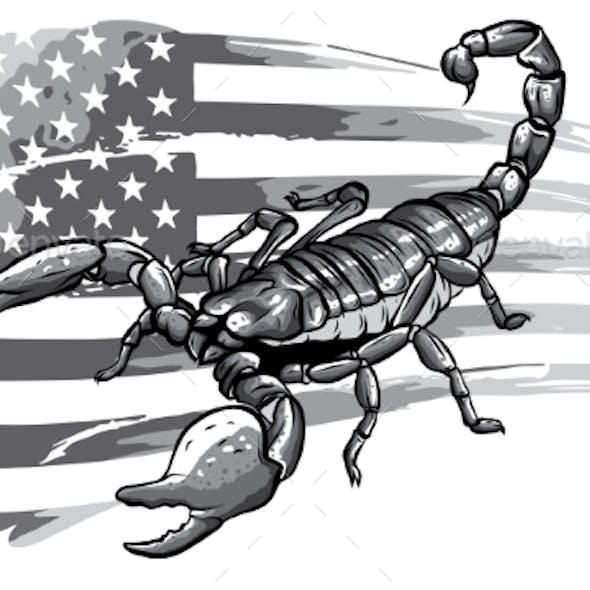 Monochromatic Scorpion Cartoon Vector Illustration