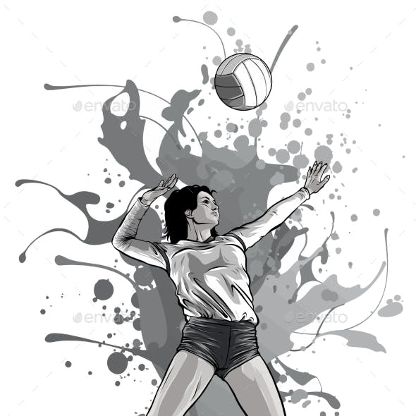 Monochromatic Volleyball Sport Girl and Ball