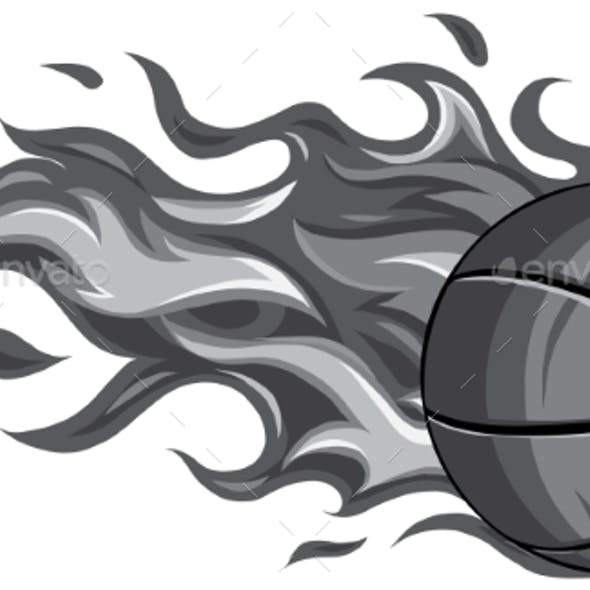 Monochromatic Basketball Ball in Flame Vector