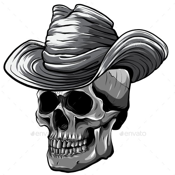 Monochromatic Vector Illustration of Cowboy Skull