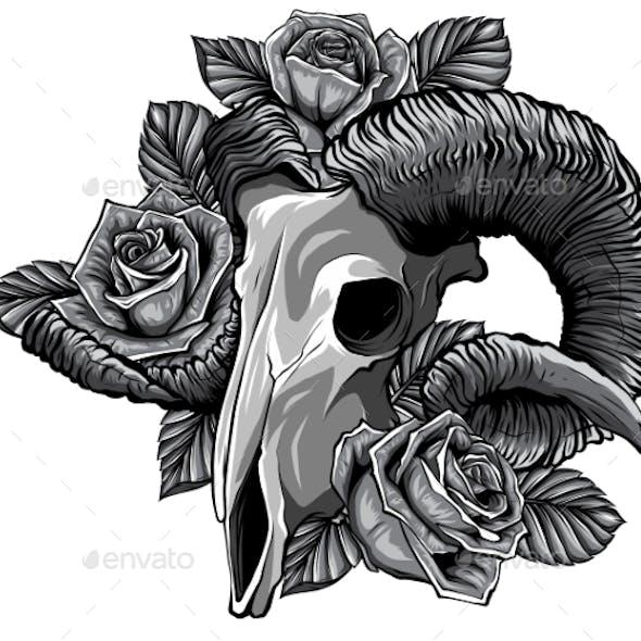 Monochromatic Goat Skull Vector Illustration