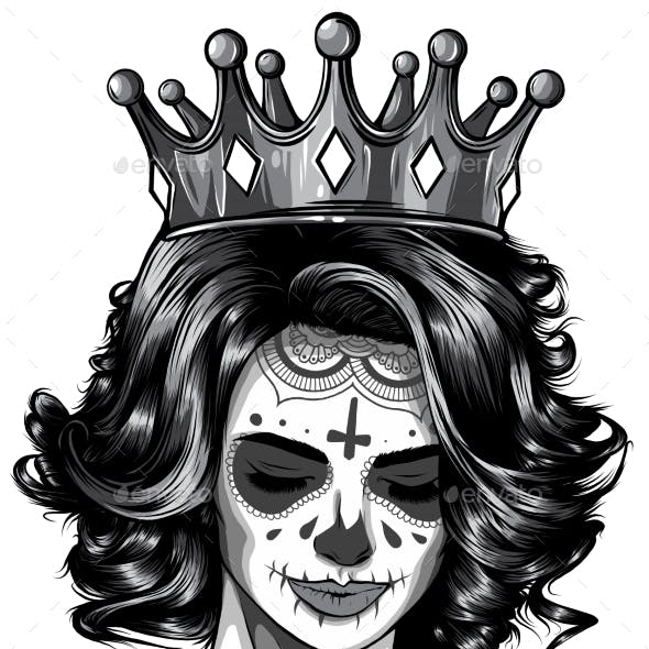 Monochromatic Skull Girl with a Crown