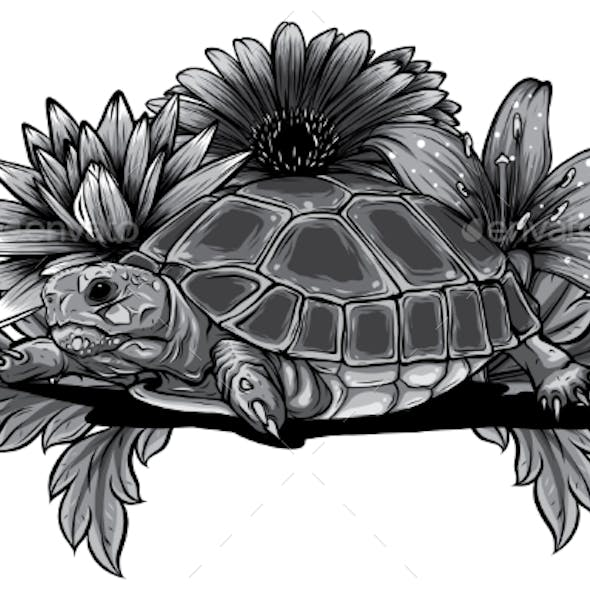 Monochromatic Turtle with Flower Designs Vector