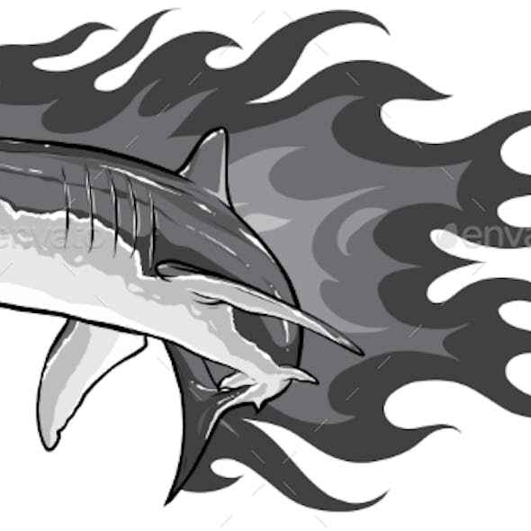 Monochromatic Shark with Flames for Tattoo or