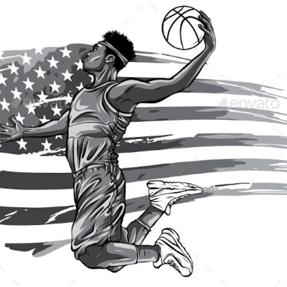 Monochromatic Basketball Player on American Flag