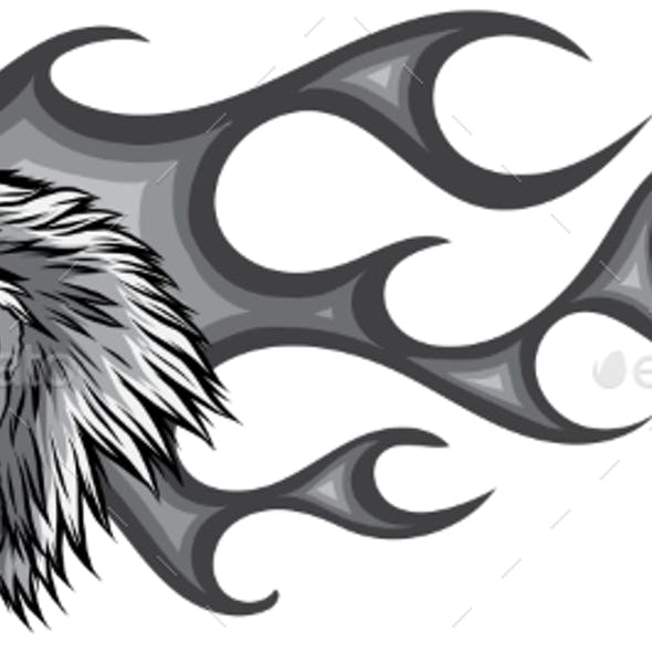 Monochromatic Angry Rooster with Flames
