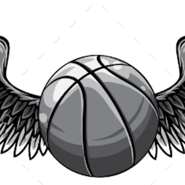 Monochromatic Basketball Template with Wings
