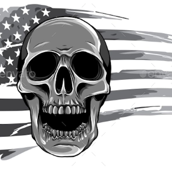 Monochromatic Draw of Skull and Flag Usa