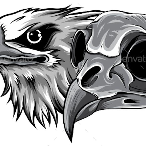 Monochromatic Mascot Head of an Eagle Vector