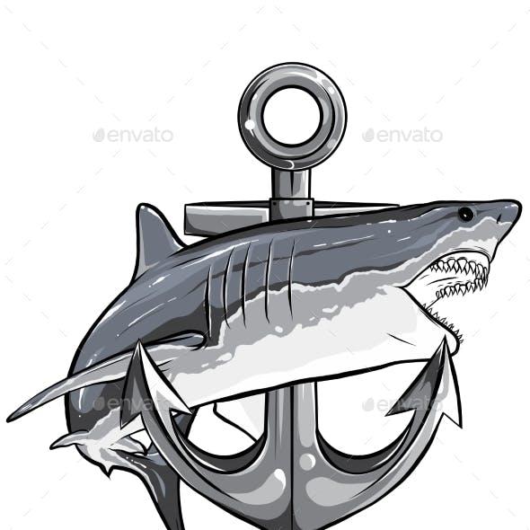 Monochromatic Jumping Shark Illustration with