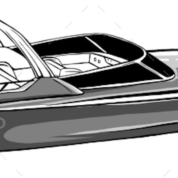 Monochromatic Boat Icon Vector Illustration