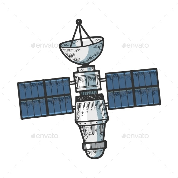 Artificial Satellite Sketch Engraving Vector - Objects Vectors