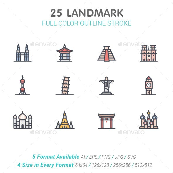 Landmark Line with Color Icons