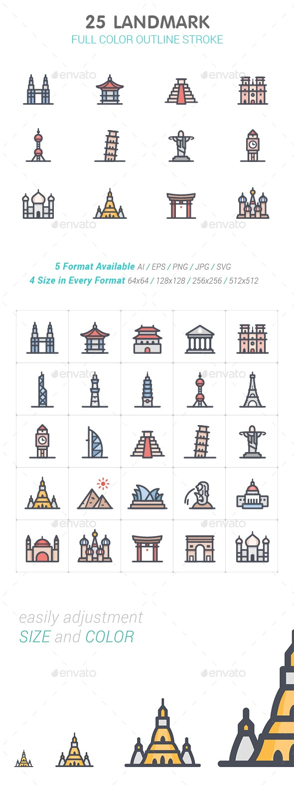 Landmark Line with Color Icons - Buildings Objects