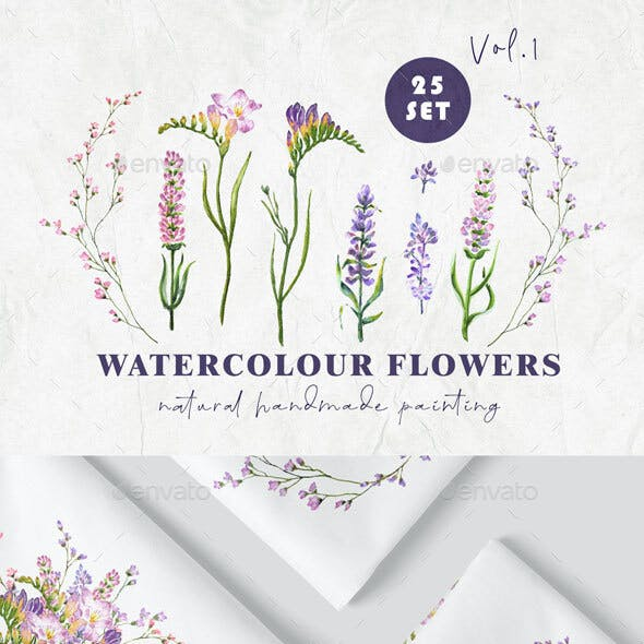 Watercolour Flowers 25 set vol.1