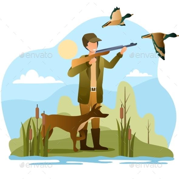 Male Hunter with Dog Is Trying To Shoot Ducks