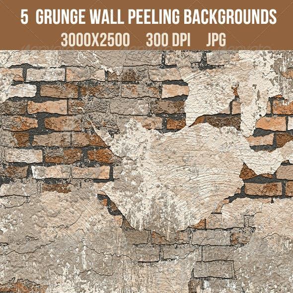 5 Grunge Brick Wall Peeling Textures