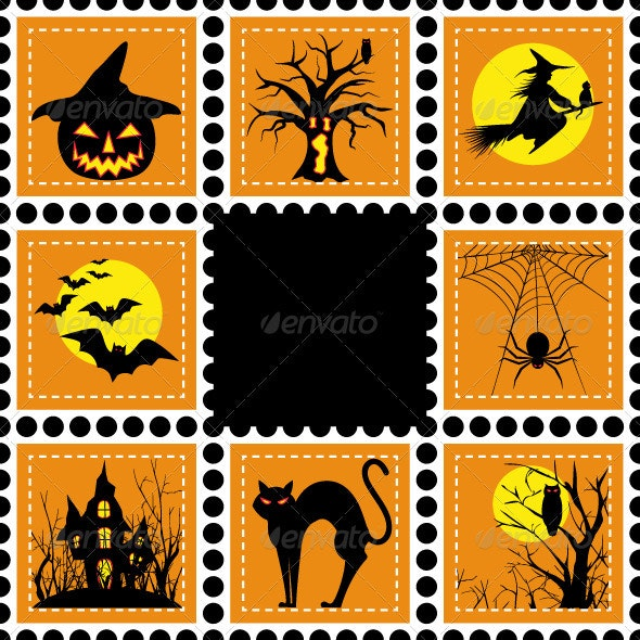 Set of Halloween Stamps - Halloween Seasons/Holidays