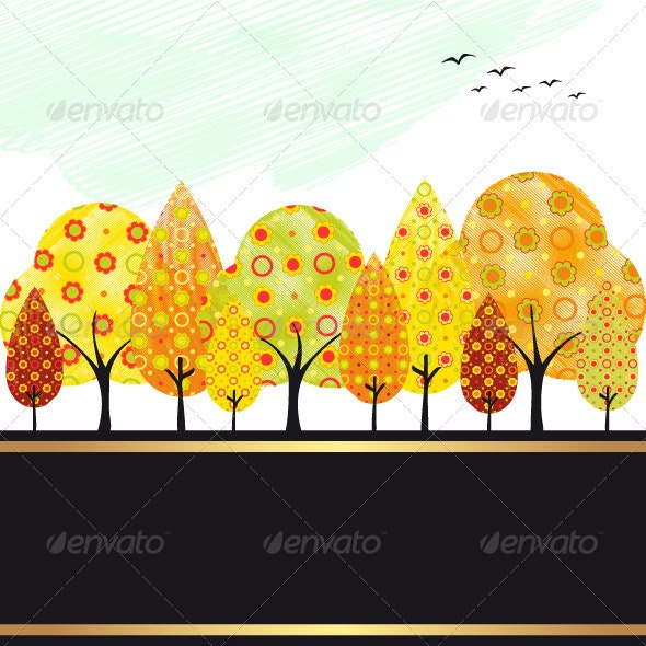 Abstract Autumn Tree - Seasons Nature