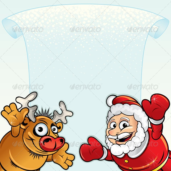 Santa with Rudolph - Christmas Seasons/Holidays